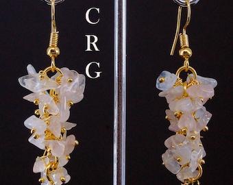 Gold Plated Rose Quartz Grape Cluster Earrings (GC45DG)