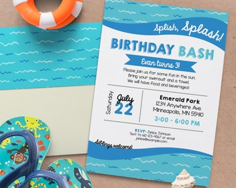 Splish Splash Birthday Invite. Pool birthday bash. Splash pad birthday. Personalized - Digital File *DIGITAL FILE*