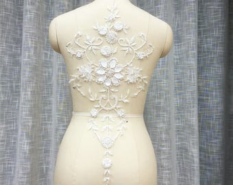 White 3D Lace Appliques Venice Lace Flower Collars Corsage Costome Decor Lace Patches 1pc YL580