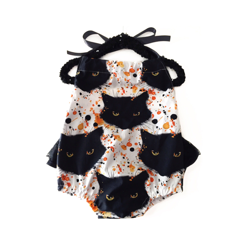 halloween romper black cat costume cat romper baby romper baby costume