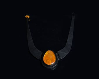 Handmade leather necklace with natural Baltic amber