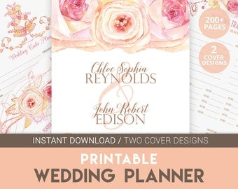 DIY Wedding Planner | Wedding Planner | Engagement Gift | Wedding Budget | Printable Wedding | Wedding Organizer | Pink Wedding