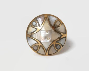 Mother of Pearl Inlay Brass Knobs