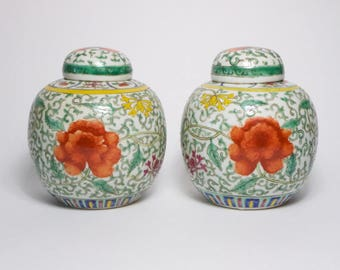 Pair antique 1930s Chinese Famille Verte enamelled porcelain vases and covers