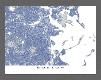 Boston Map Print, Boston MA, City Street Map Art