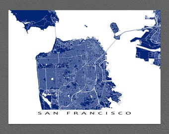San Francisco Map, San Francisco California Map Print, San Francisco Art Map Prints