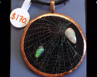 Genuine Australian Opal Pendant with Real Spider Web