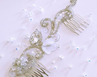 Double comb flower and lace wedding / Wedding comb