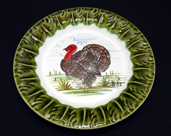 Vintage turkey plate-old majolica china-french country kitchen-quantity available