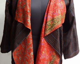 Waterfall Collar Jacket- recycled silk sari-Lagenlook-  hand stitch