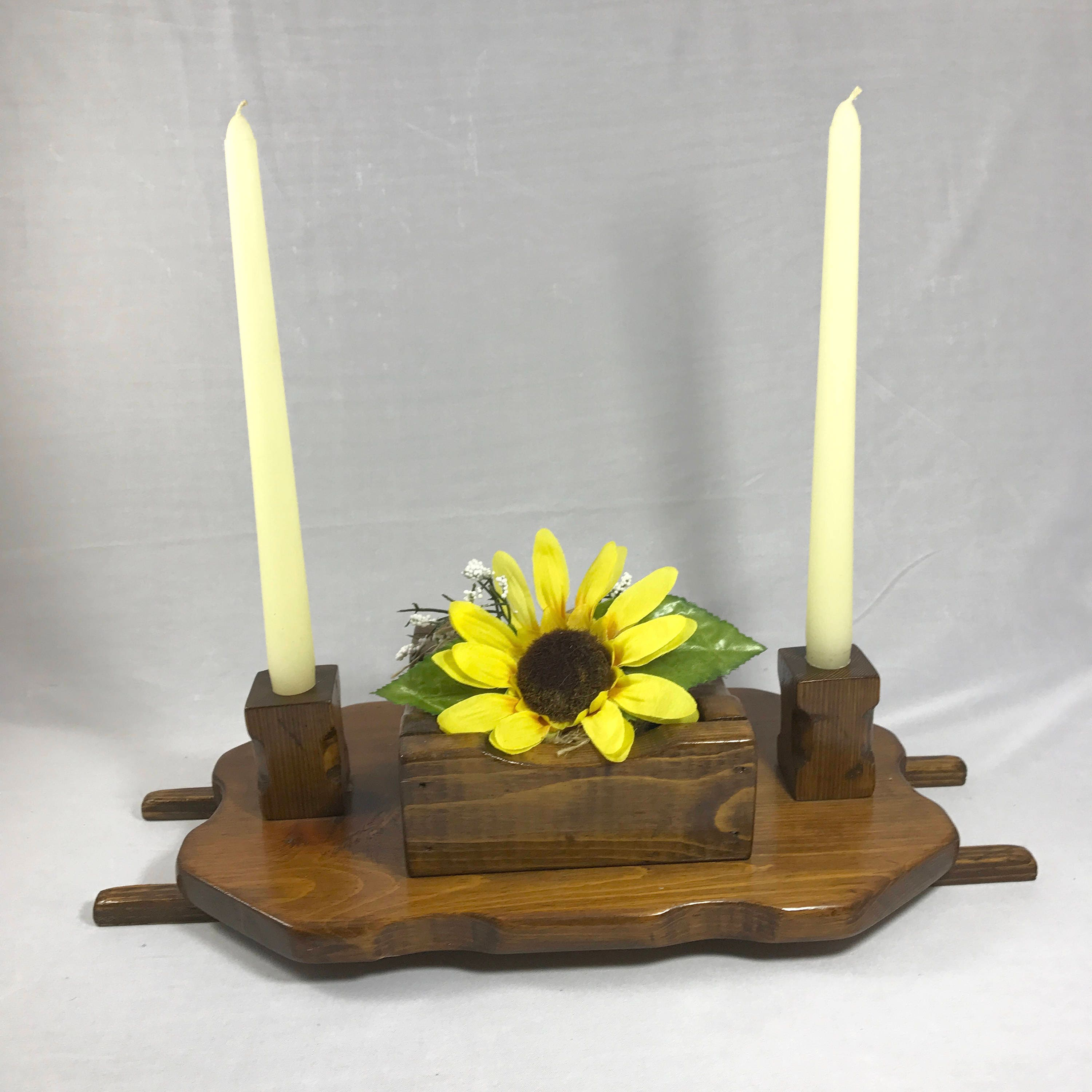 Wooden unity candle holder table centerpiece