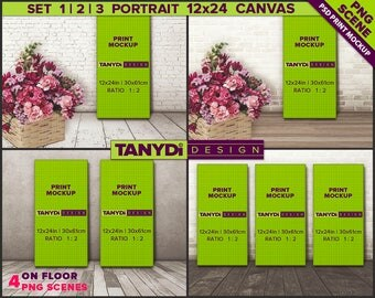 12x24 Canvas Photoshop Print Mockup CF4 | 4 PNG Scenes | Set of 1 2 3 Portrait Canvas on Wood floor | Flowers