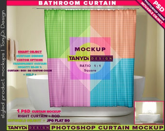 Bathroom Square Shower Curtain | Photoshop Curtain Mockup BC-M2-2 | Modern bathtub interior | Movable Curtain | Smart Object Custom colors