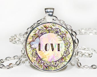 Love-Glass Pendant Necklace/Graduation gift/mothers day/bridal gift/Easter gift/Gift for her/girlfriend gift/friend gift/birthday gift