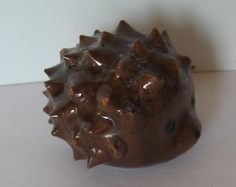 Vintage Soviet Ceramic Figure of a Hedgehog. Varnished.