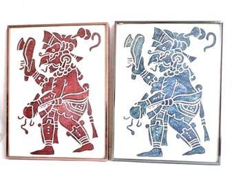 P. Argaez P Lot of 2 Mayan Aztec Deity Engravings Temple Rubbings, Mexican Art, Mayan, Aztec, Vintage Signed Paintings, Folk Art, Antique