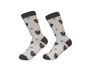 Pug  Socks - 200 Needle Count - Cotton Socks - Life Like Detail of  Pug   - Size Women's (5-11)  Men's( 6-10)