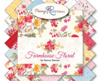 "5"" Stacker Farmhouse Floral by Nancy Zeiman for penny Rose Fabrics- 42 Fabrics"