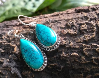 Turquoise Earrings Blue Turquoise Earrings long teardrops Turquoise Artisan Turquoise Earrings Chic Turquoise Gemstone Earrings 925 Sterling