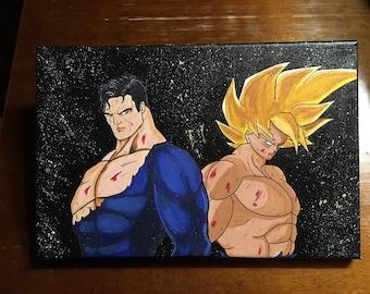 Canvas 18 x 24 cm Superman Dragon Ball: Goku Super Saiyan vs. Superman