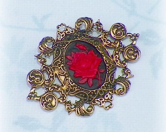 Victorian Brooch Pin Gothic Red Rose Cameo Black Vintage Style Steampunk Antique Gold Style