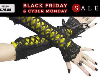 Gothic fingerless gloves, arm warmers yellow black burlesque steampunk, goth wedding bridal gloves, vampire womens evening gloves 0340E
