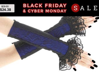 Black blue fingerless gloves, lace arm warmers gothic burlesque costume goth lace bridal gloves, womens evening glove, lolita victorian 0200