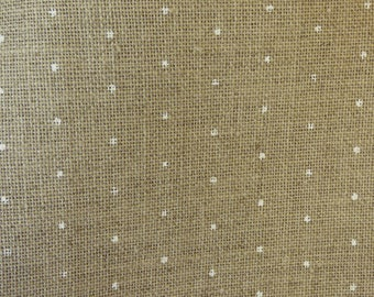 Coupon linen Vaupel 12fils natural and white polka dots