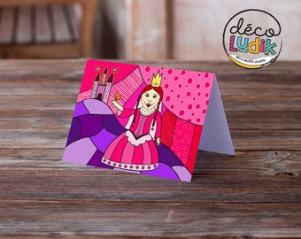 princess greeting card, princess anniversary card, birthday card, art card, girl birthday, pink princess, children card