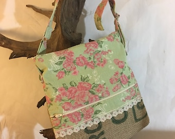 Recycled Burlap Coffee Bag Floral Print Zippered Crossbody Handbag