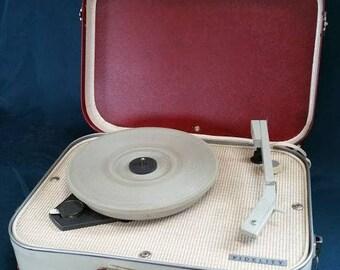 Fidelity HF31 Vintage Suitcase Record Player c 1960s Red & Cream Vinyl