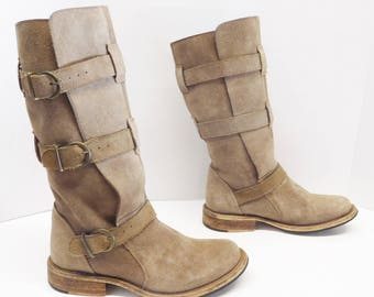 Steve Madden Women  Gray 3 buckle Casual Boots size 6.5