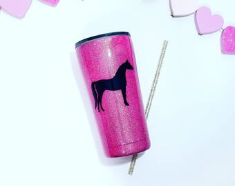 Glitter Tumbler - Horse Tumbler - Horse Cup - personalized Tumbler - Coffee tumbler - Horse Yeti - Glitter Yeti - Horse Gift - Horse Lover