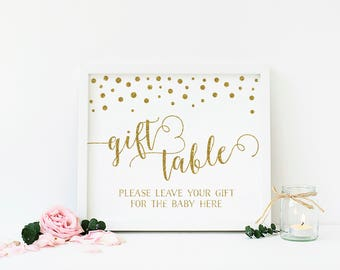 Gold Baby Shower Gift Table Sign, Gold Baby Shower Decorations, Gold Baby Shower Gifts Sign, Confetti, Printable, Instant Download - CG1