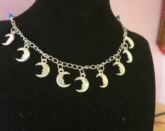 Charm Bracelet, Moon Bracelet,  Tree of Life Bracelet, Pagan/ Wiccan Bracelet, Crescent Moon Bracelet, Chain Bracelet