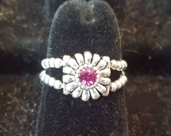 12 color options/sterling band toe/finger daisy ring/round Swarovski crystal