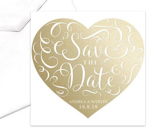 Love Heart Save the Date Romantic Card Gold Heart Swirls Elegant Intricate Calligraphy Save the Date Cards