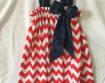 Patriotic Pillowcase dress, Curtain Dress, red chevrons and blue swirls made from quality cotton fabrics