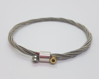 Simple Bass Guitar String Bracelet Upcycled Hand Made