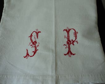 Stunning French vintage metis linen bed sheet with red embroidered initials S & P (04875)