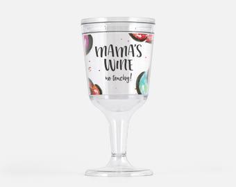 acrylic wine glass mamas wine no touchy tumbler plastic rose wine glass wine