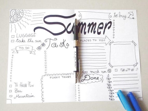 Summer Bullet Journal Holiday Vacation Checklist Journaling