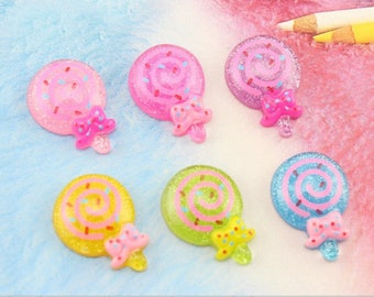 6 x cabochon lollipop color mix size: 22mm