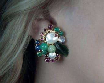 Vintage Retro Tutti Frutti Multi-Gemstone Earrings and Ring