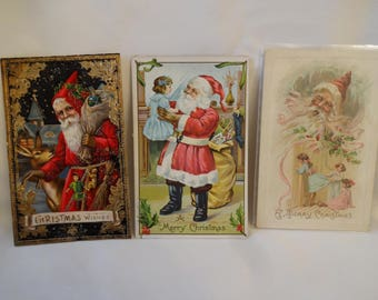 Christmas Antique Post Cards - Santa Claus - Early 1900's