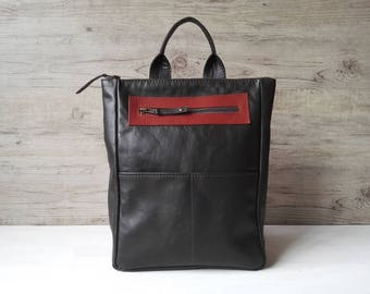 Small backpack, dark gray backpack, leather backpack, soft leather bag, casual backpack - ready to ship