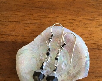 Black and silver  faceted glass beaded earrings with sterling ear wire