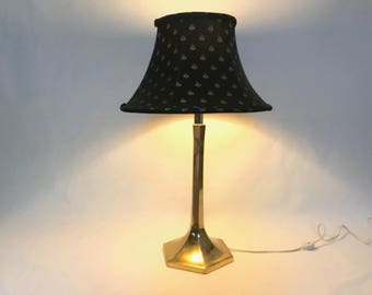 Vintage Mid Century Hollywood Regency Hexagon Base Brass Column Table Lamp