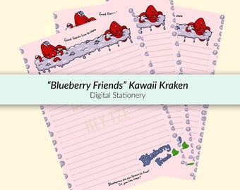 Printable Stationery Blueberry Friends - blueberry stationery, cute kraken stationery, kawaii stationery, cute stationery, funny stationery