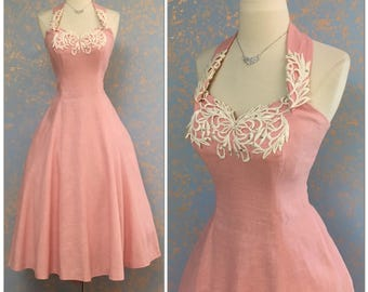 SPLENDID vintage 50s Medium Dress Full circle skirt Halter sundress